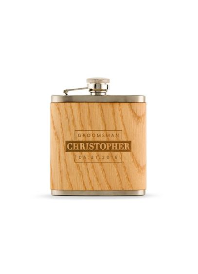 Personalized Wood Wrapped Flask - Wedding Gifts & Decorations