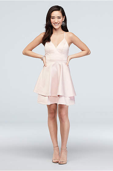Short Tiered Satin Dress with Lace Back