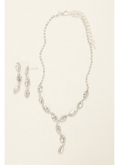 Scalloped Marquise Necklace and Earring Set - Wedding Accessories