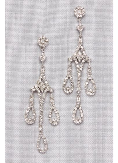 David's Bridal Grey (Crystal Teardrop  Chandelier Earrings)