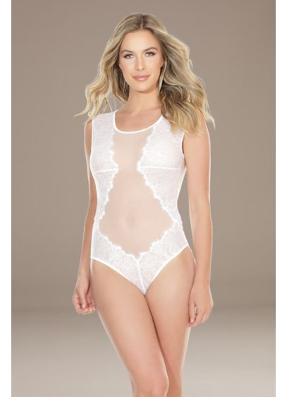 Coquette Mesh and Lace Bodysuit with Keyhole Back - Strategically placed eyelash lace, an illusion mesh panel