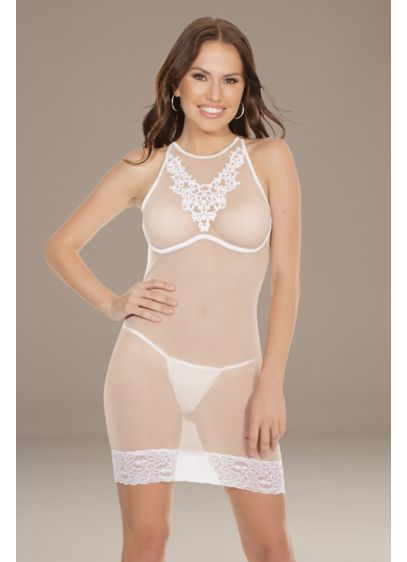 Coquette Appliqued Chemise with Lace Hem - Crafted of formfitting sheer mesh, this chemise is