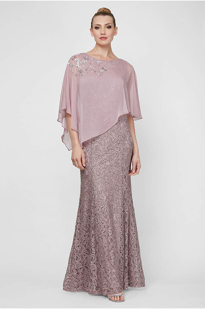 Long Sequin Lace Mermaid Dress with Beaded Capelet