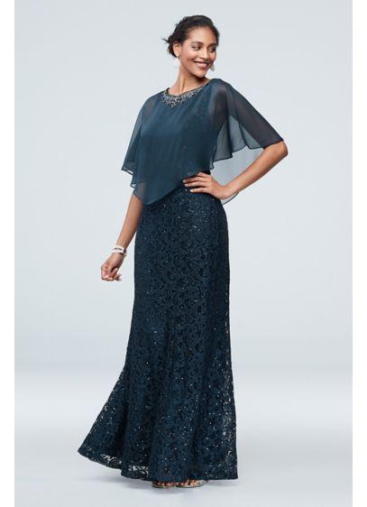 Long Mermaid / Trumpet Capelet Formal Dresses Dress - Ignite