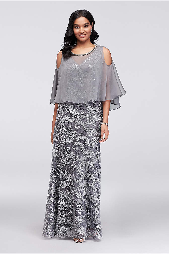 Sequined Lace Sheath and Cold-Shoulder Capelet - This two-piece set is packed with sparkle. Paisley