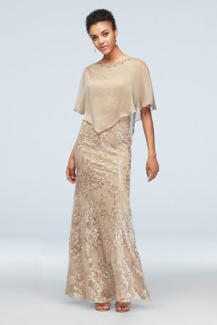 Long Mermaid / Trumpet Capelet Dress - Ignite