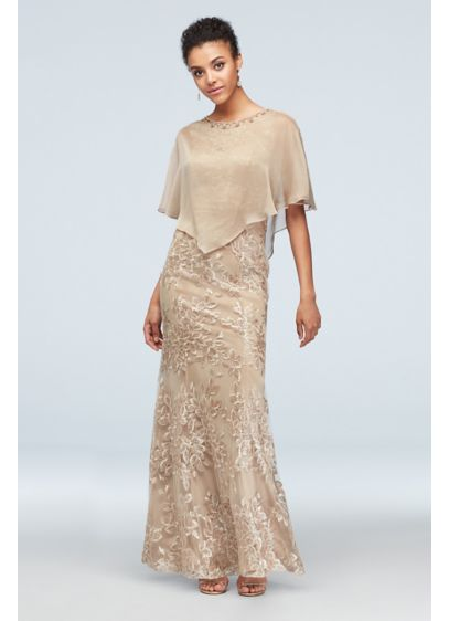 Metallic Embroidered Floral Mermaid Dress and Cape - This two-piece set is packed with sparkle, from