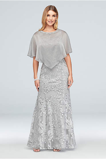 Metallic Embroidered Floral Mermaid Dress and Cape