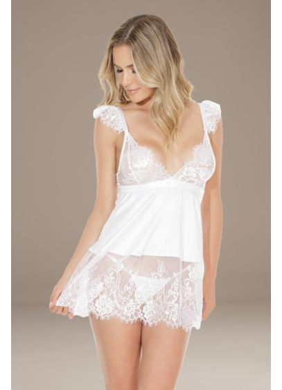 Coquette Ruffled Cap Sleeve Babydoll Chemise - Both sweet and sexy, this sheer lace chemise
