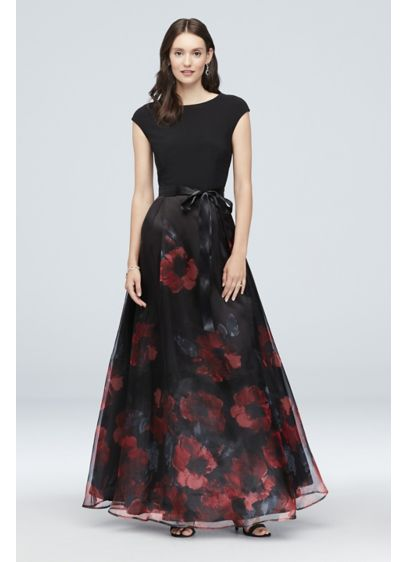 Cap Sleeve Floral Organza Ball Gown with Bow - An ultra-flattering cap-sleeve illusion bodice provides beautiful contrast