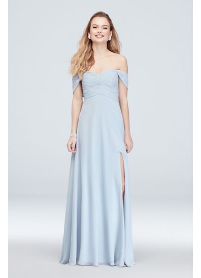 Long Blue Soft & Flowy Sequin Hearts Bridesmaid Dress
