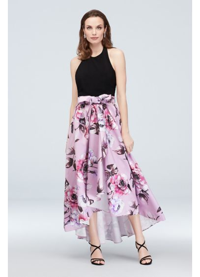 Halter Nigh-Neck Gown with Floral High-Low Hem - Perfect for a dressy occasion or a back