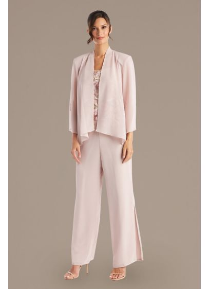 Chiffon 3-Piece Pantsuit Set with Slits - Comfortable meets captivating in this three-piece pantsuit set.