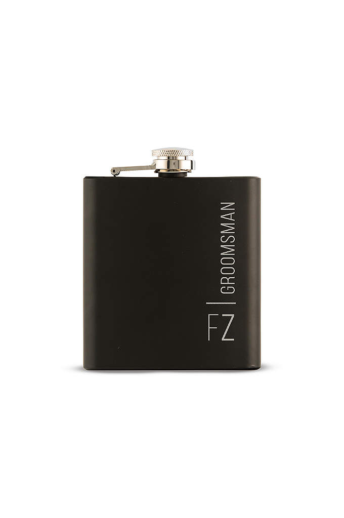 Personalized Vertical Etching Black Coated Flask