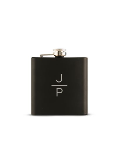 Personalized Stacked Monogram Black Coated Flask - Wedding Gifts & Decorations