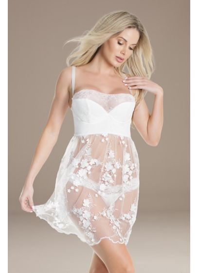 Coquette Chemise Set with Sheer Lace Skirt - Featuring lightly padded demi cups, a sheer floral