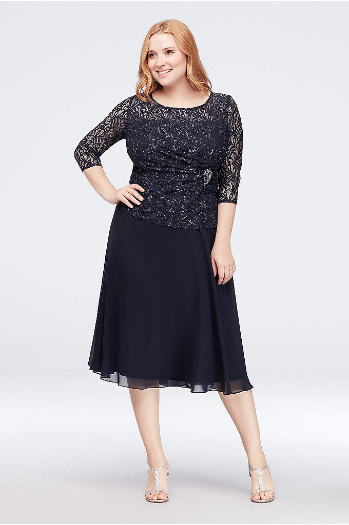 Lace and Chiffon Plus Size Dress with Side - The metallic lace 3/4-sleeve bodice of this chiffon