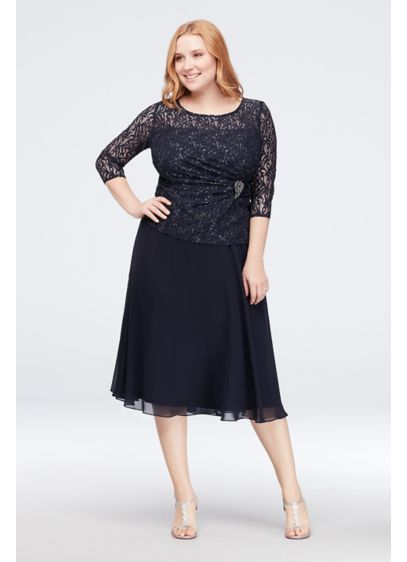 Lace and Chiffon Plus Size Dress with Side Brooch