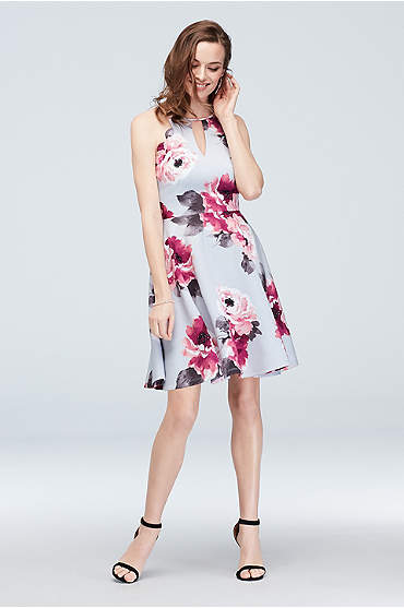 Scalloped Keyhole High Neck Floral Skater Dress
