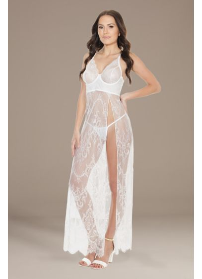 Coquette Long Lace Underwire Cup Chemise - You'll look glamorous in this long lace chemise,