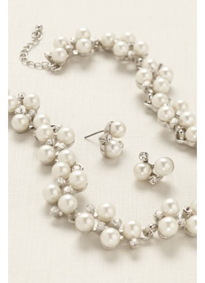 Pearl Rhinestone Vine Necklace and Earring Set - Wedding Accessories