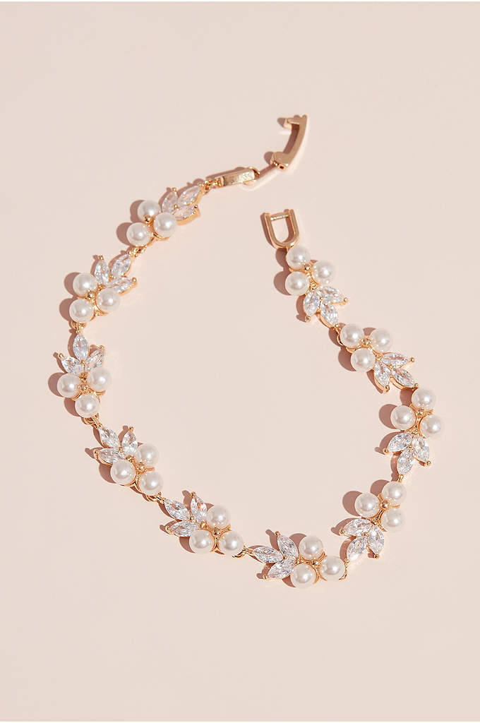 Pearl Trio Cluster and Marquise Crystal Bracelet