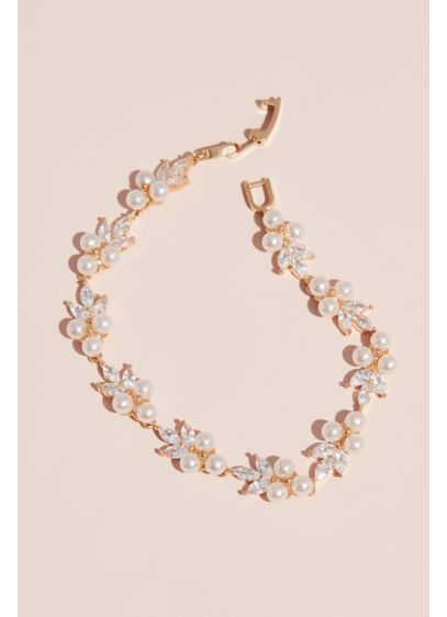Pearl Trio Cluster and Marquise Crystal Bracelet - A delicate and darling piece, this bracelet features