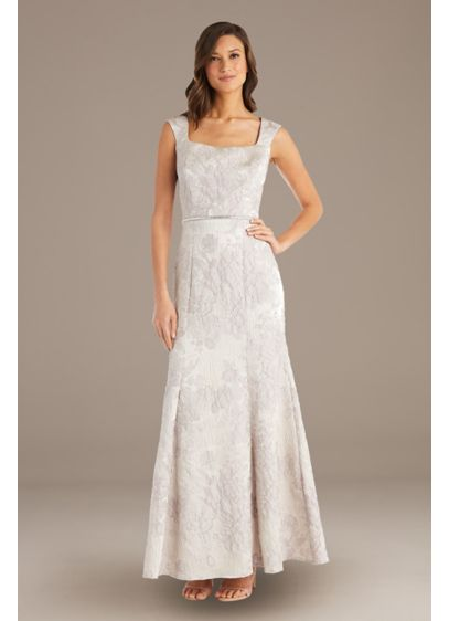 Brocade Square-Neck Sheath Gown with Cap Sleeves - Gorgeous brocade fabric transforms this classic square-neck sheath