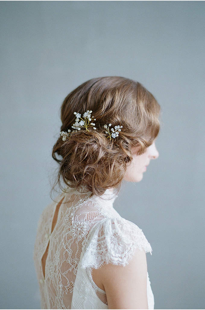 Misty Floral Hair Pin Set - Featuring hand-wired Swarovski crystals, beaded flowers, and freshwater