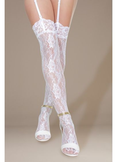 Coquette Crystal Lace Thigh-High Stockings - Sheer floral lace and shimmering crystals come together