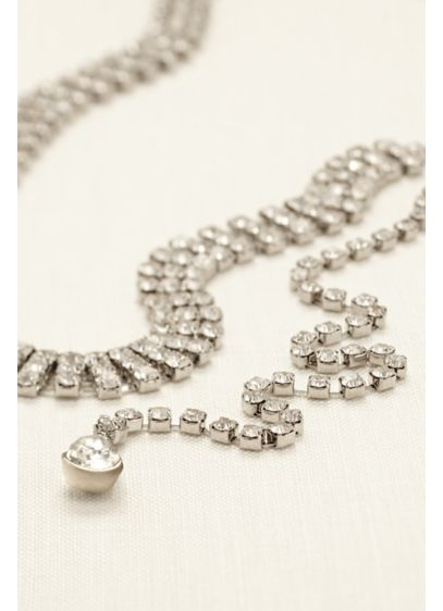 Three Row Rhinestone Back Necklace - Wedding Accessories