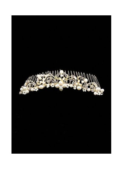 Bridal Comb with Scroll Detail, Pearls and Crystal - Beautiful scrolls and intricate detailing give this comb