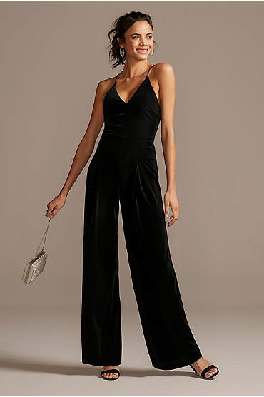 Wide-Leg Velvet Jumpsuit with Spaghetti Straps