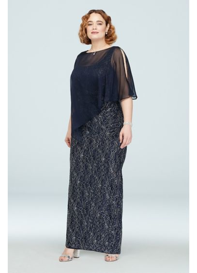 Metallic Lace Plus Size Gown with Beaded Capelet - Elegant and extravagant, this stretch knit sheath dress
