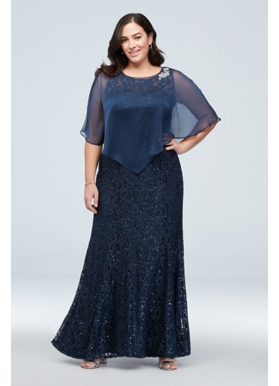 Plus Size Sequin Lace Dress with Flutter Sleeve