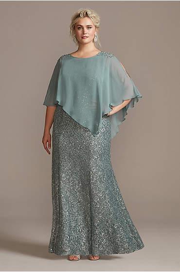 Crystal Cold-Shoulder Capelet Plus Size Dress Set