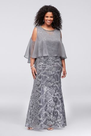 Piped Sequin Plus Size Dress With Capelet Davids Bridal