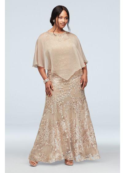 Metallic Floral Plus Size Dress and Cape Set