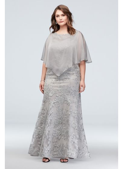 Metallic Floral Plus Size Dress and Cape Set - This two-piece, plus-size set is packed with sparkle,