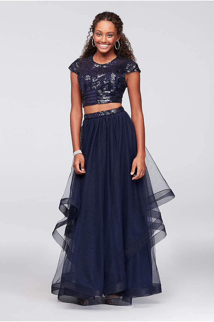 Cap Sleeve Sequin and Tulle Two-Piece Prom Dress - Geometric sequins add glitz to the cap-sleeve crop