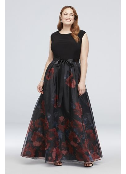 Cap Sleeve Floral Organza Plus Size Gown with - An ultra-flattering cap-sleeve illusion bodice provides beautiful contrast