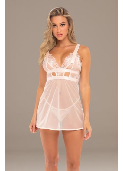 Janet Mesh Eyelash Lace Chemise with G-String - Wedding Accessories