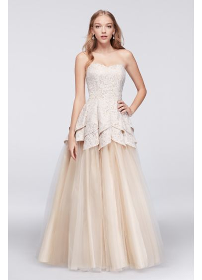 Long Ballgown Strapless Cocktail and Party Dress - Masquerade