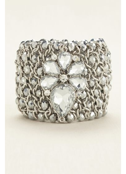 David's Bridal Grey (Crystal Embellished Woven Bead Bracelet)
