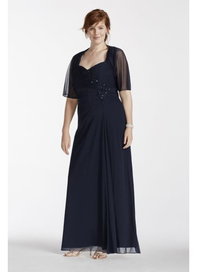 Long Sleeveless Chiffon Dress With Chiffon Shrug David S