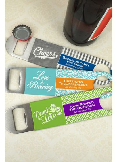 Personalized Vinyl Grip Paddle Bottle Openers - Heavy duty personalized vinyl grip stainless steel paddle