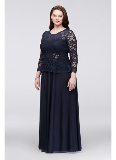 Allover Glitter Lace Dress with Long Sleeves - Designed with thoughtful details, this long-sleeve dress with