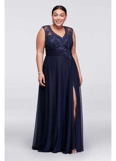 Long A-Line Cap Sleeves Formal Dresses Dress - Cachet