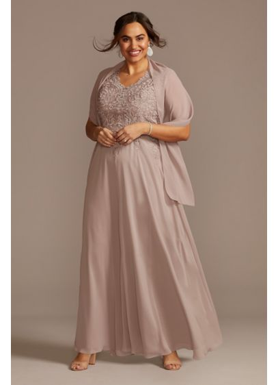 Corded Floral Lace Cap Sleeve Plus Size Dress - This stunning plus size A-line dress is crafted