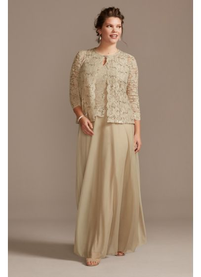 Plus Size Three-Piece Skirt and Lace Cardigan Set - For a plus-size look that says classically elegant: